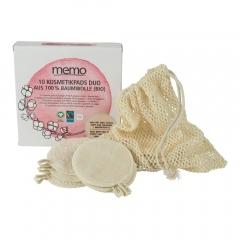 Memo gezichtspads 10 stuks met waszakje
