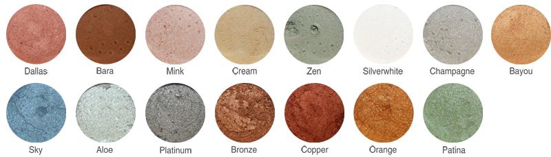 minerale parelmoer oogschaduw kleuren